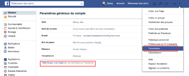 comment télécharger son archive Facebook