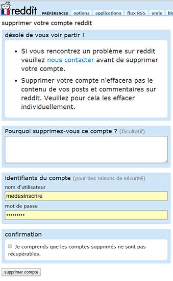 valider suppression compte reddit