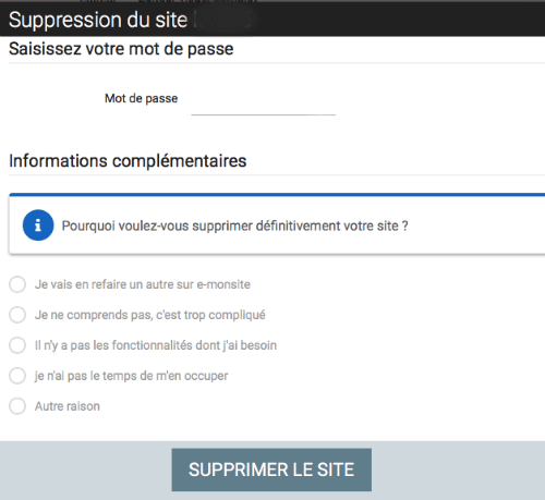 confirmer suppression emonsite