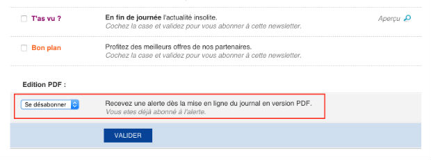 comment supprimer une newsletter 20 minutes