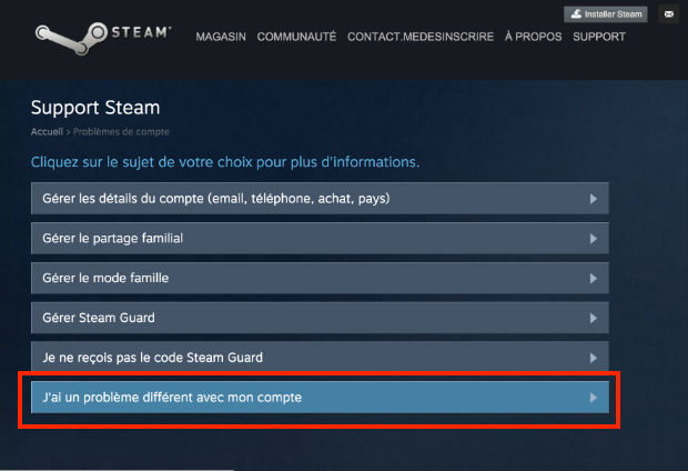 contacter steam