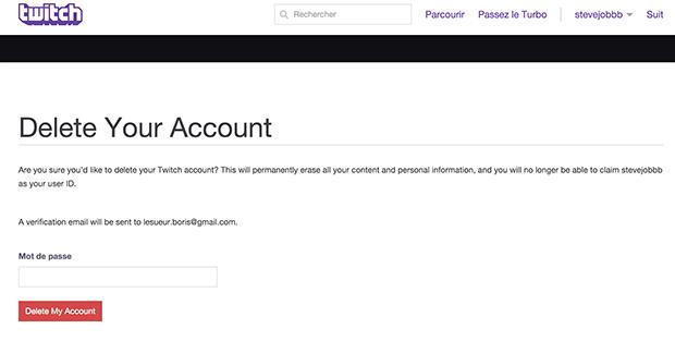 comment supprimer un compte twitch