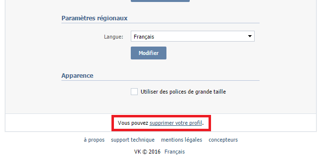 suppression compte vKontakte