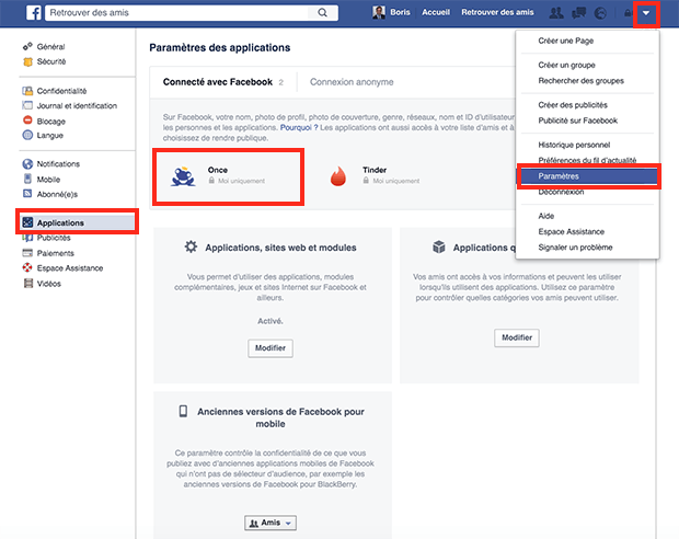 comment supprimer once de facebook