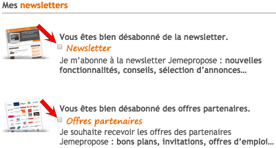 desinscrire newsletter jemepropose