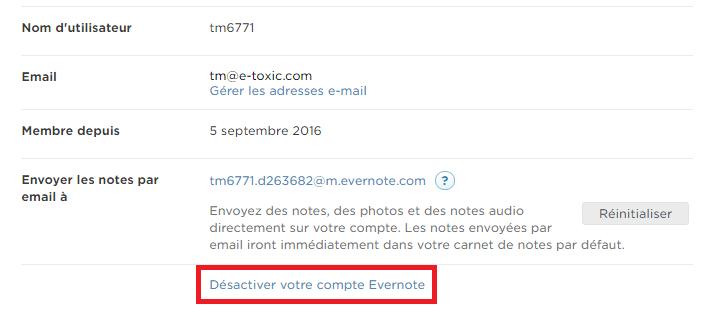étapes désactivation compte Evernote