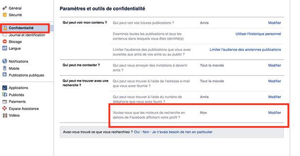 comment supprimer Facebook sur google