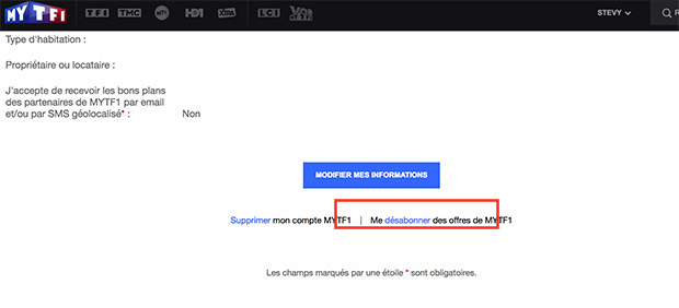 comment supprimer abonnement newsletter my tf1
