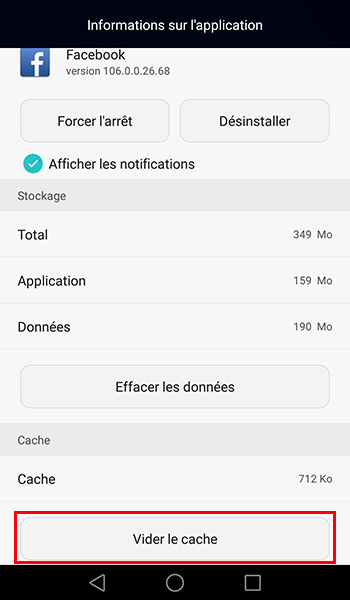 vider cache application android