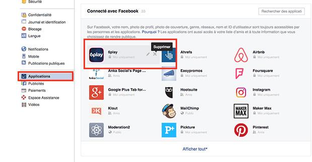 comment supprimer M6play sur Facebook
