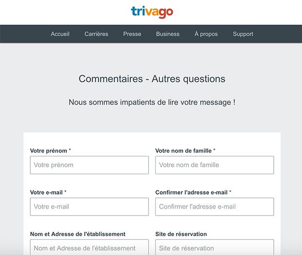 comment contacter le service client trivago