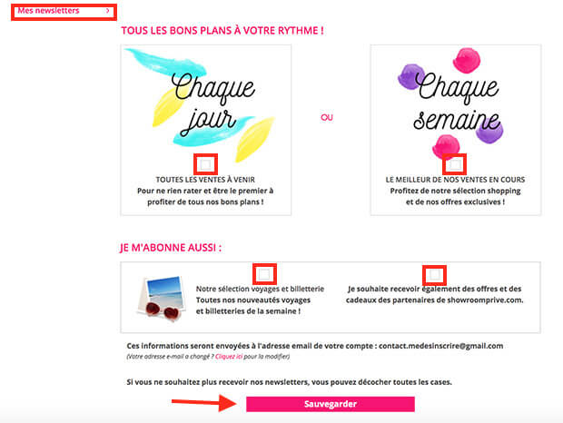 comment supprimer les newsletters showroomprive