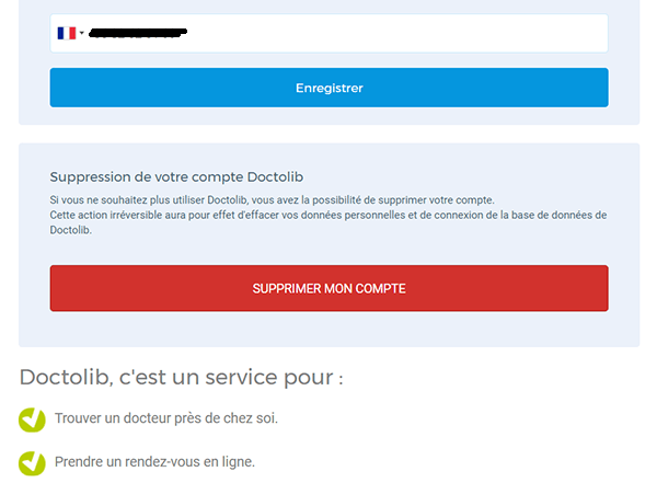 étape 2 suppression compte doctolib