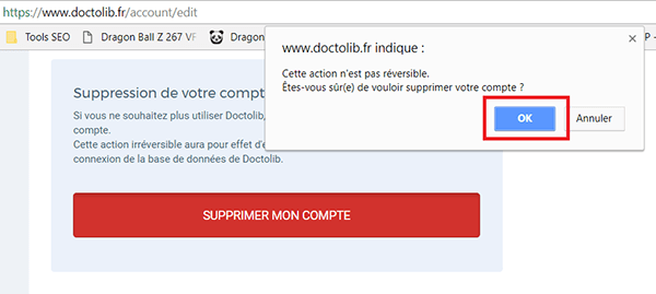 étape 3 valider suppression compte doctolib
