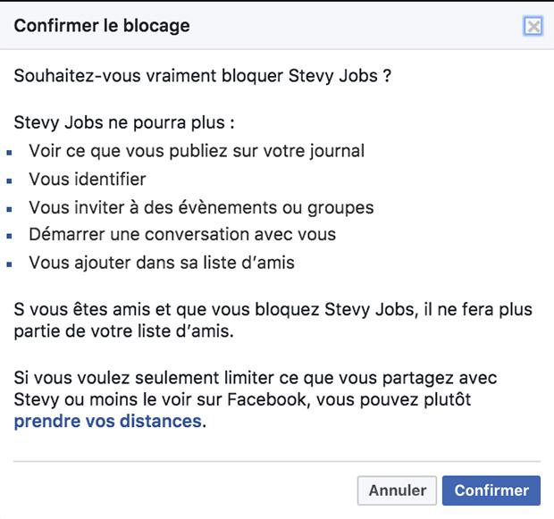 bloquer un ami facebook