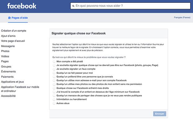 formulaire de contact facebook
