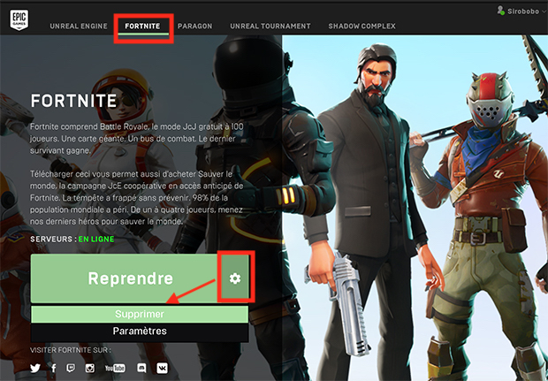desinstaller fortnite