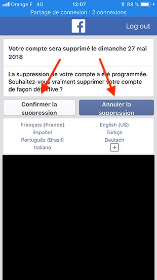 comment supprimer un compte facebook sur mobile
