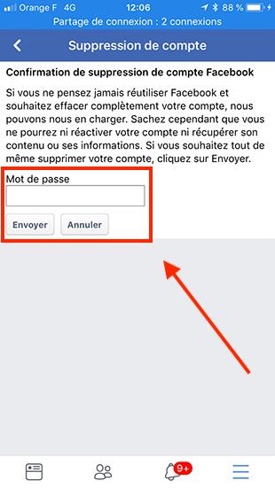 supprimer son compte facebook sur telephone