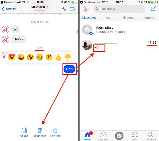 comment effacer un message messenger
