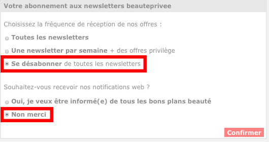 desactiver notification beaute privee