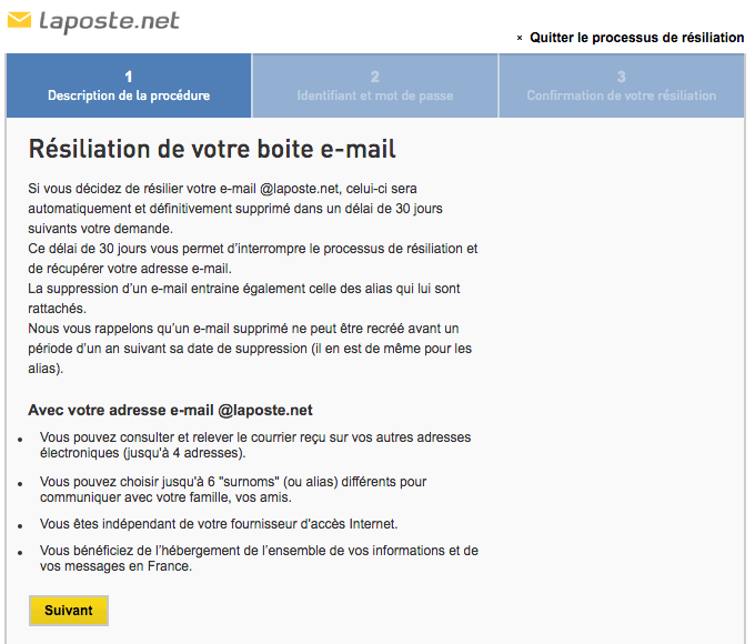supprimer adresse mail laposte