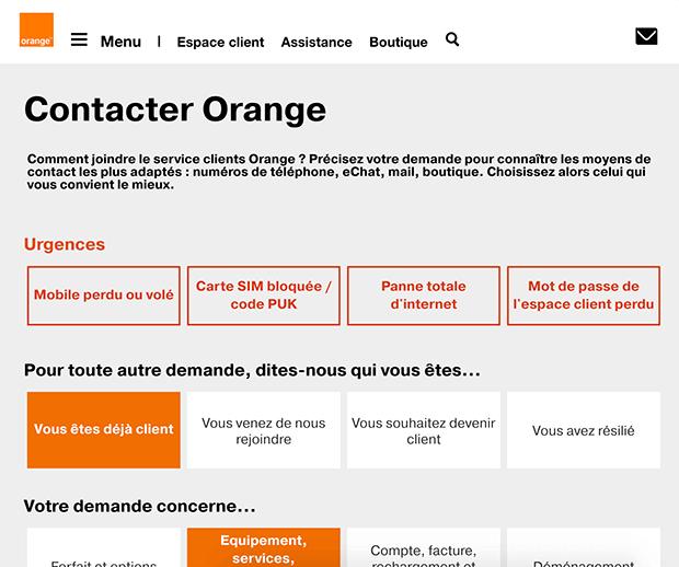 contacter le service client orange