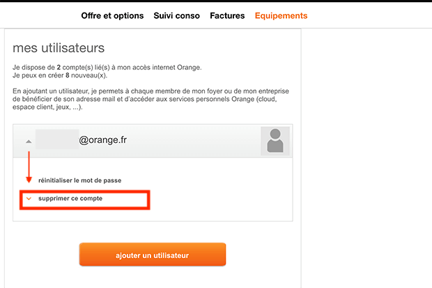 comment supprimer un profil orange