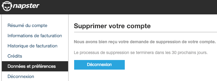 confirmation suppression profil napster