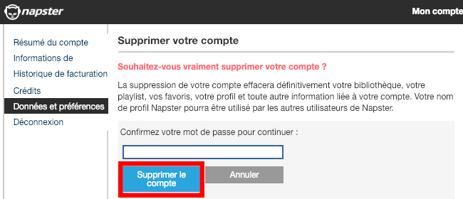 fermeture compte napster