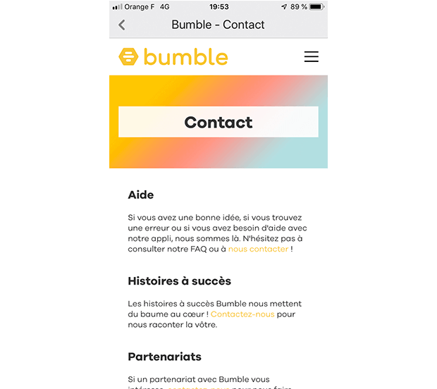 comment contacter bumble