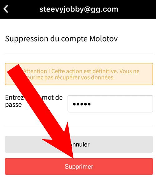fermeture compte molotov
