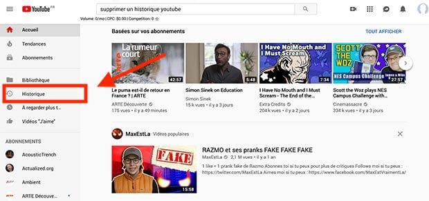 supprimer un historique youtube