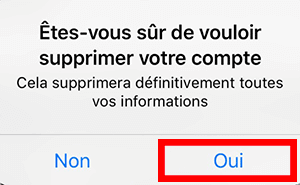 confirmation suppression compte hily
