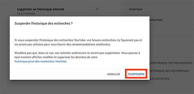 suspendre historique recherche youtube