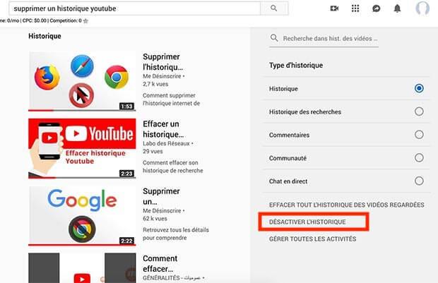 supprimer enregistrement historique youtube