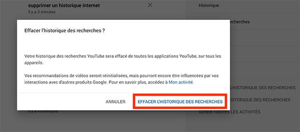 supprimer historique youtube