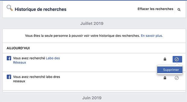 supprimer recherche facebook