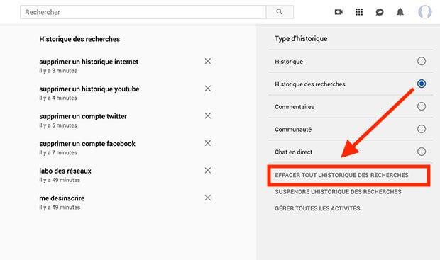 effacer historique recherche youtube