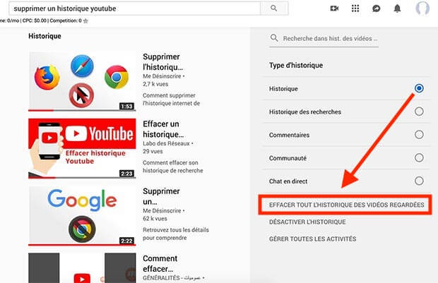 comment supprimer historique youtube
