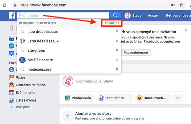 effacer historique recherche facebook
