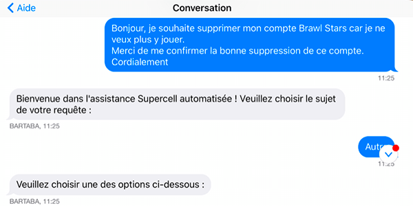 demande suppression compte brawl Stars