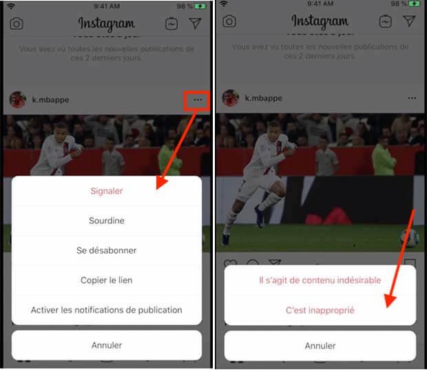 signaler un contenu sur instagram