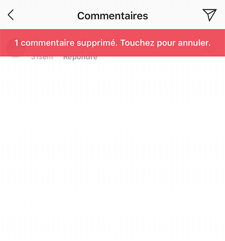 retirer commentaire instagram