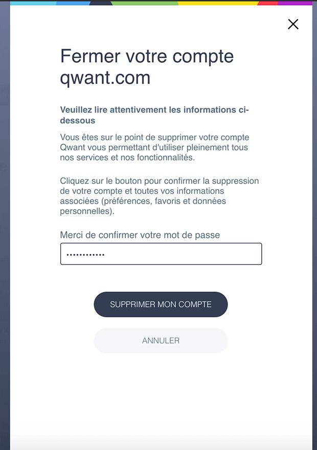 Comment supprimer un compte Qwant