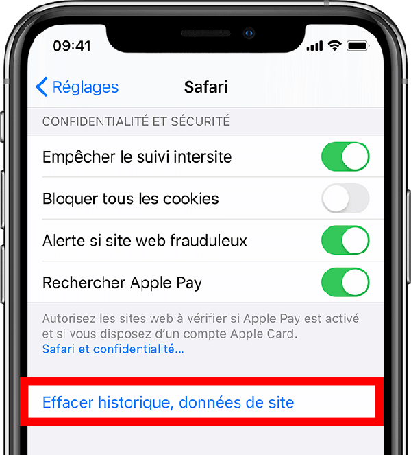 Supprimer cache navigateur iphone